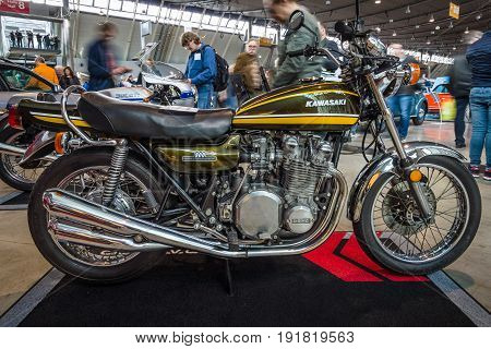 STUTTGART GERMANY - MARCH 03 2017: Motorcycle Kawasaki Z900 1974. Europe's greatest classic car exhibition