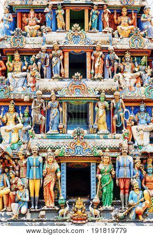 Close-up View Of The Gopuram Of Sri Mariamman Temple. Singapore