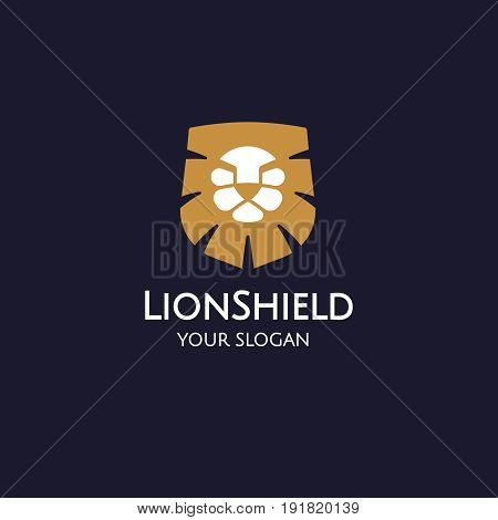 Lion shield logo design template, Lion head logo, Element for the brand identity, Vector illustration on a dark background