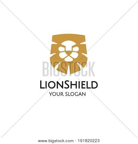Lion shield logo design template, Lion head logo, Element for the brand identity, Vector illustration on a white background
