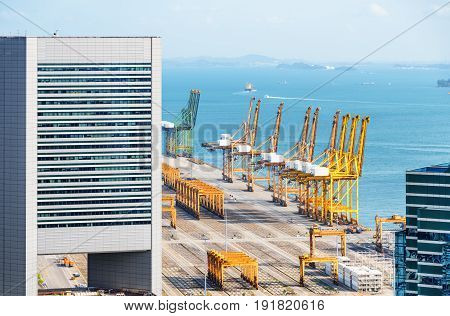Scenic View Of The Port Of Singapore. Urban Industrial Seascape
