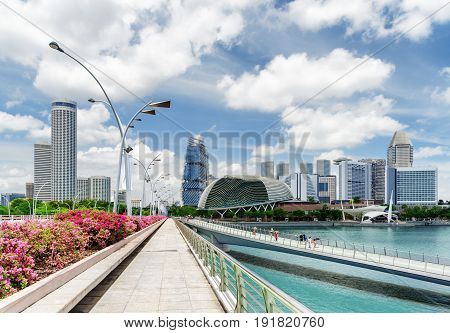Esplanade Drive And Pedestrian Bridge Over The Singapore River