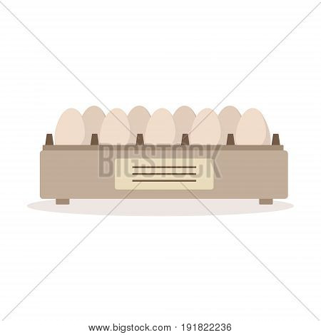 Incubator egg tray, poultry breeding vector Illustration isolated on a white background