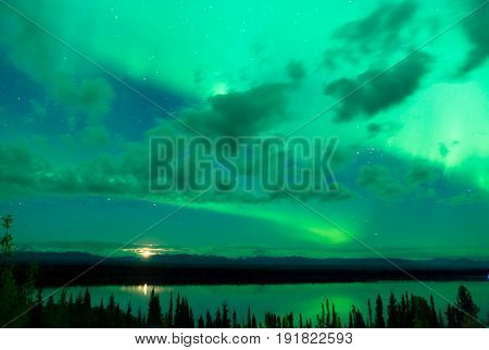 The Northern Lights appear over Wrangell St. Elias National Park