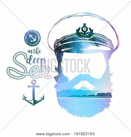 Double effect of captains Portrait. Beard, forage cap, anchor rope. Vector illustration Vintage nautical clubs and bars logo and emblems.