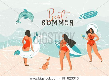 Hand drawn vector abstract exotic summer time funny illustration with surfer girls, unicorn float, surfboard and dog on sand shore and dolphin on blue ocean waves with modern calligraphy Best summer.