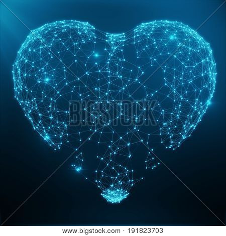 Polygonal Abstract Heart Concept Consisting of Blue Dots and Lines. Digital Illustration. Polygonal Structure, Triangle structure. Consisting of Points and Lines Forming Heart Shape. 3D rendering