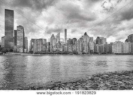 Manhattan Skyline Seen From Roosevelt Island, Nyc.