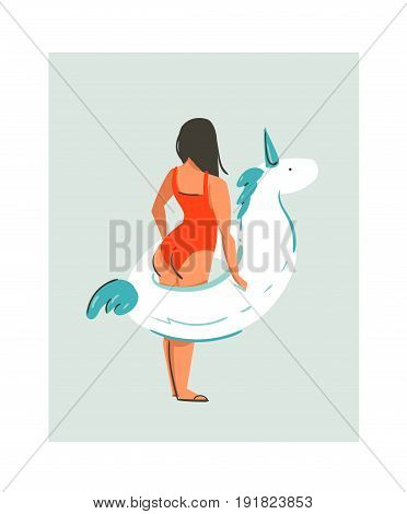 Hand drawn vector abstract cute summer time fun beach young girl illustration with unicorn float rubber ring isolated on blue background.