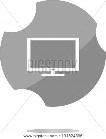 Laptop Or Monitor Sign Web Button Icon Isolated On White