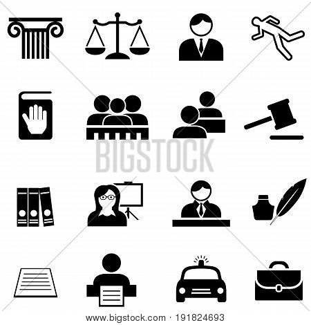 Justice legal law and lawyer web icon set