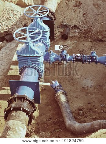 Drink Water Factory. Renewal Underground Pipelines, Valve Gates And Metal Pipes.