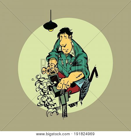 Vector illustration in cartoon style woodworker with wooden bench plane. Construction Worker.