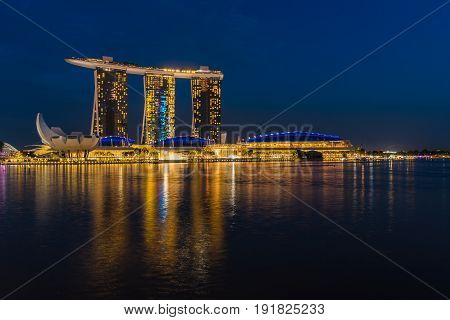 Night Scene Of Marina Bay Sands Hotel With Illuminated Lighting