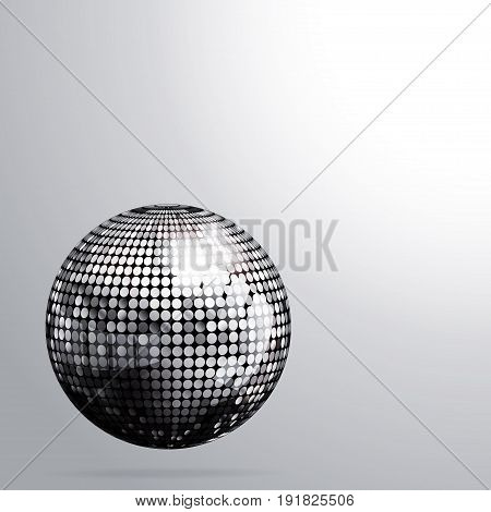 3D Illustration of Silver Disco Ball with Shadow