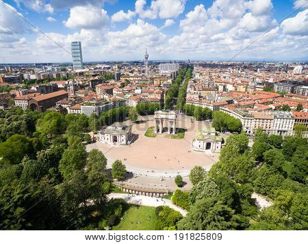 Aerial View Of The Triumph Arc - Arco Della Pace In Sempione Park In Milan, Italy