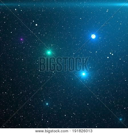 Universe filled with stars, nebula and galaxy. Close-up way galaxy with stars and space dust in the universe. Blue Space Background. Blue night sky with stars, 3D rendering