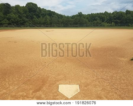 baseball diamond with dirt and homeplate at park