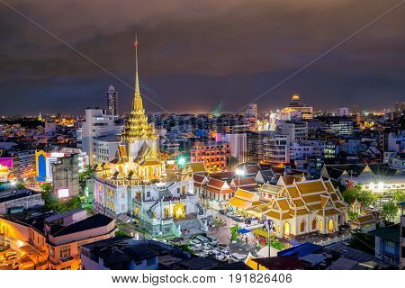 Sunset sence of Wat Traimit Witthayaram WorawihanTemple of the Golden Buddha in Bangkok Thailand. It is one of Bangkok's most beautiful temples and a major tourist