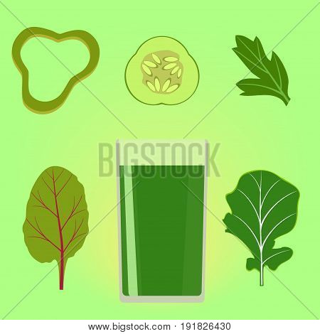 A glass of green vegetable juice with vegetables and herbs around. Green smoothies, cocktail recipes for detox, healthy food. Vector illustration eps8