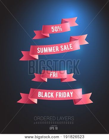 A Bundle of Realistic Ribbons on the subject of Sale. Black Friday. Limited Offer. Summer Sale. Banner Template Design. Vector illustration. EPS 10