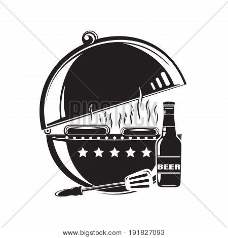 BBQ grill logo icon. Barbecue, grilled meat, grilled sausages, beer bottle. Vector illustration isolated on white background