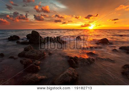 Beautiful sunset at tropical beach. Lanta island. Thailand poster