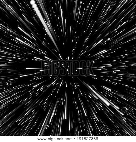 Abstract Background With Star Warp or Hyperspace. Abstract Exploding Effect. Hyperspace Travel. The Concept of Space Travel by Changing Time and Space. 3D Rendering