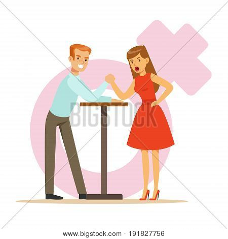 Man and woman with hands clasped arm wrestling, girlfriend confronts her boyfriend colorful characters vector Illustration on background of a female pink gender symbol