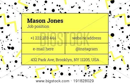 Bar fashion business card template in the style of Memphis. Bright yellow and gray colors. Zigzags and paint splatters. The modern design. Background and composition information in rectangular blocks.