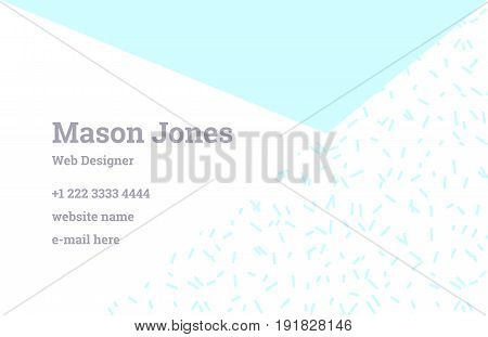 Fashion business card template in the style of Memphis. Perfect combination of organic pattern and geometric shapes. A pattern of pastel blue triangle and mint dashes. Funky design.