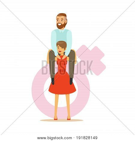 Man sitting on the shoulders of a woman dressed in a red dress, feminism colorful characters vector Illustration on background of a female pink gender symbol