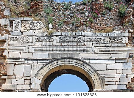 Arch and reliefs over the entrance in st. Johns Basilica at Ayasuluk Hill - Selcuk, Ephesus, Turkey