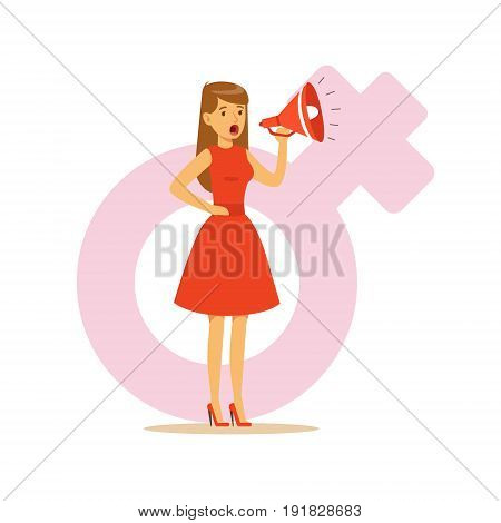 Woman in a red dress shouting into a megaphone, feminism colorful character vector Illustration on background of a female pink gender symbol