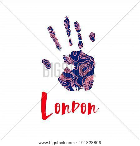 Handcraft logo in the colors of the British flag. Pattern of contour maps design on a trace human hand. Silhouette of a hand print with a topographic map. Red and blue color. Mapping logotype.