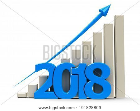 Blue business graph with blue arrow up represents growth in the year 2018 three-dimensional rendering 3D illustration