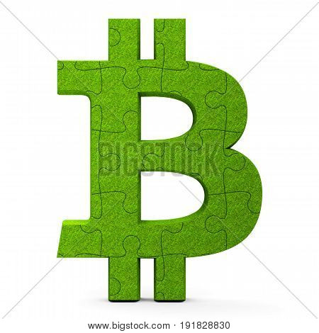 Green puzzle Bitcoin sign isolated on white background three-dimensional rendering 3D illustration