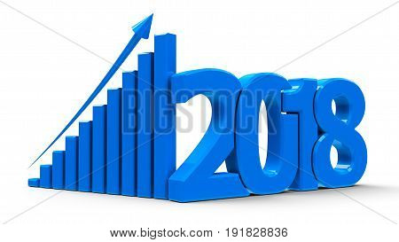 Blue business graph with arrow up and 2018 symbol represents growth in the new year 2018 three-dimensional rendering 3D illustration