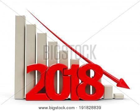 Red business graph with red arrow down represents decrease in the year 2018 three-dimensional rendering 3D illustration