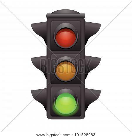 traffic lights with green bright. Go concept. vector illustrator
