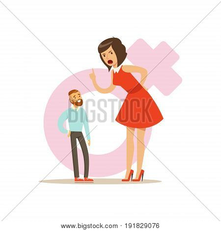 Giant woman in a red dress threatening a tiny man, feminism colorful characters vector Illustration on background of a female pink gender symbol