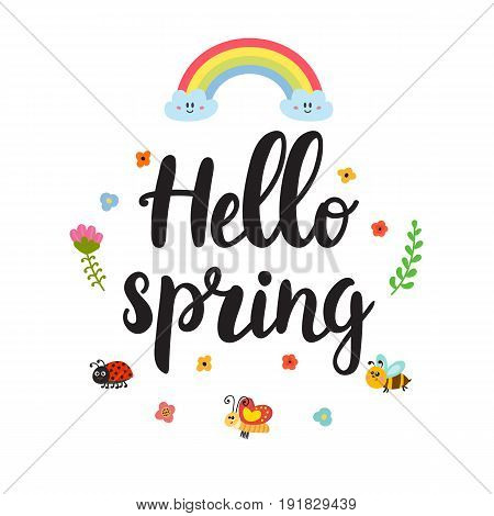 Hello Spring Quote With Decorative Floral Elements. Beautiful Poster With Rainbow, Butterfly, Bee, L