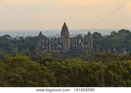 Ankor Wat surounded by the Forest and Jungle in Cambodia