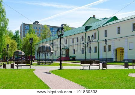POLOTSK BELARUS - MAY 19 2017: Complex of buildings of former Jesuit collegium (now - Polotsk State University) on Streletskaya Street Polotsk Belarus