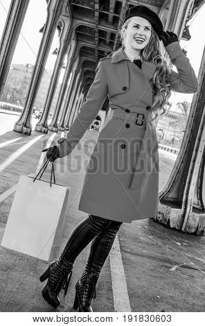 Traveller Woman With Shopping Bag Looking Into Distance, Paris