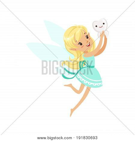 Cute cartoon blonde Tooth Fairy girl flying with tooth colorful character vector Illustration isolated on a white background