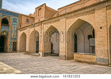 Arcitetctural detail of the Yame mosque in old city Yazd in Iran.