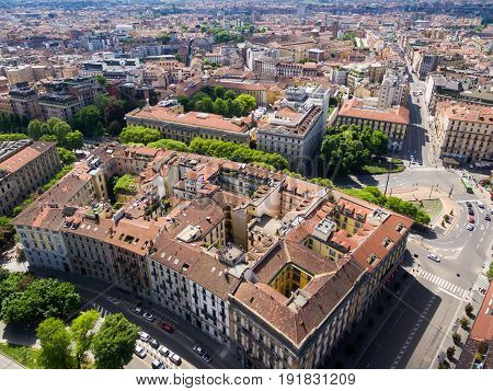 Aerial Photography View Of  Milan City In Italy