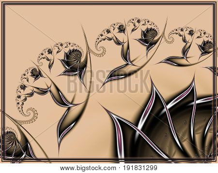 Gentle and soft surreal flowery design for wallpaper or background. Modern decoration.