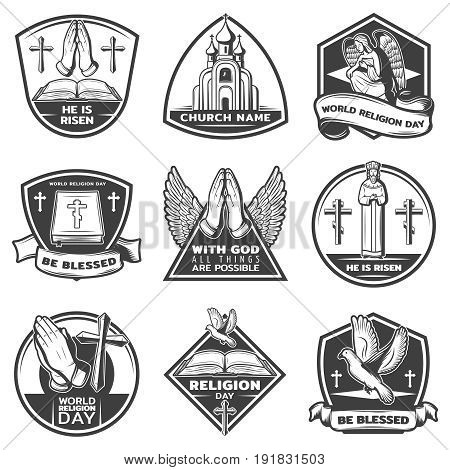 Vintage monochrome religious labels set with letterings and traditional spiritual ritual elements isolated vector illustration
